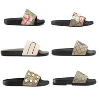 bolsas de verano al por mayor-Hombres Mujeres Sandalias con la caja de flores correcta Bolsa para el polvo Zapatos Serpiente de impresión Diapositiva Verano ancho sandalias planas Zapatillas