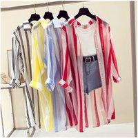ein hülsenkimono großhandel-Lange neue Ärmel gestreiften Strand Kimono Frauen Sommer Herbst lange Bluse dünne Sonne vertuschen beiläufige lose Hemden Strickjacke weiblich
