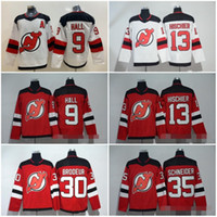 camisa de hóquei brodeur venda por atacado-Adads costurados New Jersey Devils em branco 43 Jack Hughes # 9 HALL 13 HISCHIER # 30 BRODEUR # 35 SCHNEIDER Branco Vermelho Hóquei no Gelo Homens Mulheres Juventude