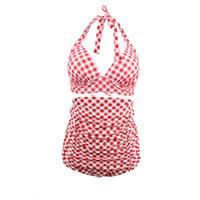 e15231a1fdad4 Plaid high-waisted lady bathing suit Two-Piece Fashion Beachwear Bikini  Padded Sex Summer Swimsuits String Swimsuits TTA 97