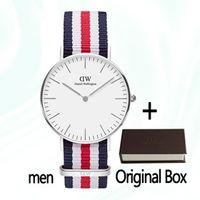 женские наручные часы оптовых-2018 известный бренд женщин мужские Даниэль часы мода нейлон ремешок стиль 40 мм серебро мужские часы с подарочной коробке relojes