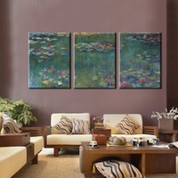 Wholesale impressionism paintings for sale - Group buy 3 Panels Impressionism Canvas Painting Claude Monet Famous Painting Nympheas Oil for Living Room Home Wall Decor Gift