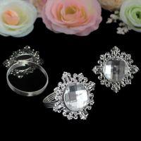 hochzeit silber tisch diamanten großhandel-Großhandels-48pcs Diamant-Acrylstein-Serviettenringe Silber-Ton Servietten-Halter-Hochzeits-Bankett-Brautabendtisch-Bevorzugungs-Versorgungsmaterial