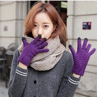добрые перчатки оптовых-Новый вид сенсорного экрана перчатки для вязания шляпы женщин теплый и пушистый сенсорный экран индукции осень и зима милые перчатки шерсть вязание