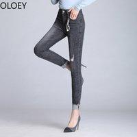 jeans gris femmes élastiques achat en gros de-Gris Taille haute Longueur cheville Femmes Jeans Poignets Femme Elastic Force Déchiré Crayon Pantalon Mom Jeans Skinny Femme Top Shop