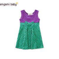sereias de roupas de bebê venda por atacado-Varejo bebê menina vestidos ins verão meninas sem mangas bowknot sereia princesa vestido de moda bonito patchwork vestido de baile crianças roupas de grife