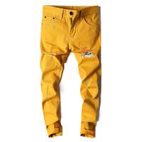 новые желтые джинсы для мужчин оптовых-Summer new fashion trend cotton embroidery men's yellow jeans hole shorts