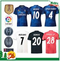 jerseys de fútbol para mujeres al por mayor-2019 Maillot Real madrid Jersey Benzema ASENSIO fútbol Fútbol Modric Kroos Sergio Ramos Bale Marcelo 18 19 Real Madrid hombre mujer camisetas