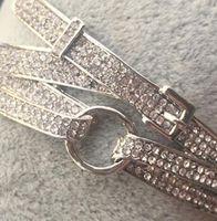 ceinture brillante achat en gros de-Rhinestone denim élégant alternative cool brillant sauvage simple élégant rétro géométrique fer à cheval boucle beau bracelet ceinture