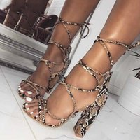 da4f44ada1918 2019 New Design Prints Snakeskin grain Ankle Strap Sandals Women Square heel  Party Lace-Up Summer Sandal Shoes