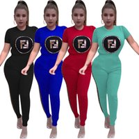 Wholesale red yoga outfit resale online - F Letter Women Tracksuit Printed Sweatsuit Short Sleeve T shirt Pants Set Summer Spring Casual Sportswear Outfits AAA1983