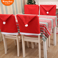 Wholesale kitchen chair set for sale - Group buy 2018 Merry Xmas Chair Cap Christmas Chair Set Decorations Kitchen Christmas Cap New Year Decorations for Home Accessories