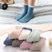 meias de natal para meninas venda por atacado-7 estilos Fluffy veludo coral Meias distorcido para Mulheres Meninas 2020 Inverno Início Suave Cozy sono Quente Sock Adulto Meias do Natal presente M657F