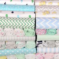 conjuntos de cama de berço de bebês venda por atacado-102x76 cm para berço recém-nascido folhas berço de linho 100% algodão impressão de flanela cobertor do bebê 4 pçs / lote recém-nascido folha de cama de bebê conjunto de cama