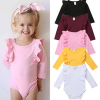 Wholesale unisex baby clothes for sale - Baby Fly sleeve romper Spring Autumn infant ruffle Jumpsuits fashion Boutique Kids Climbing clothes C6013