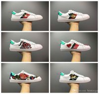 Wholesale outdoor dog shoes resale online - Mens designer shoes Casual Shoes white women sneakers good embroidery bee cock tiger dog fruit on the side
