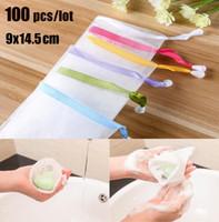 Wholesale white net gloves resale online - 100 Hanging Nylon Soap Mesh Bag Mesh Net For Foaming Cleaning Bath Soap Net Bathe Cleaning Gloves