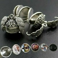Wholesale floating locket box online - Pendant Memory Floating Necklace Magic Photo Box Locket Plated Angel Wings Box Necklaces Pendant Chain OOA6895