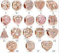 echtes goldschmuck armband großhandel-Hot fit Pandora Echt 925 Sterling Silber Zirkonia Europäischen Charms Bead Fit pan Kette DIY Armband für frau gold farbe Modeschmuck