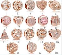 ingrosso pan european-Hot fit Pandora Reale 925 Sterling Silver Cubic Zirconia europea Charms Bead Fit pan catena braccialetto fai da te per donna oro colore gioielli di moda