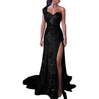 caer los vestidos del club de la nave al por mayor-Un Hombro Dividir Vestido Dorado Vestido Formal Vestido Maxi Moda Vestidos de Fiesta Negro Rojo Drop Ship 220186
