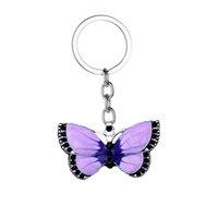ingrosso regali farfalla viola-12 pz / lotto Hot Purple Butterfly ciondolo portachiavi di cristallo strass fascino portachiavi donne ragazze migliori amici regali gioielli catena chiave