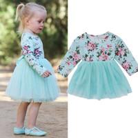 kinder langes blaues tüllkleid großhandel-Prinzessin Kid Baby Mädchen Langarm Floral bedruckt blau Mesh Stitching Tüll Tutu Kleid Clothes0-18M