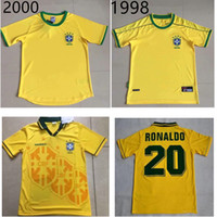 Wholesale brazil world cup jerseys resale online - 1994 Brazil retro soccer jerseys ROMARIO RONALDO best quality brazil world cup football jersey can custom