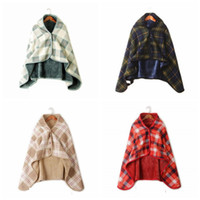 Wholesale poncho men resale online - Fashion Woman Plaid Blankets Scarf Soft Check Print Multi function Shawl Cloak Men Outdoor Winter Warm Poncho TTA1835