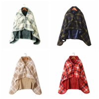 модная печать для нежных женщин оптовых-Мода женщина плед Одеяло шарф Soft Check печать Многофункциональные шали плащ Мужчины Открытый Зимняя Теплые Пончо TTA1835