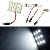 adaptador de panel led ba9s al por mayor-venta al por mayor blanco 9SMD 5050 3-Chips Car LED Light Dome Panel con T10 / BA9S / Festoon adaptadores lámparas de bulbo # 1517