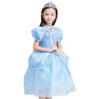 kinder langes blaues tüllkleid großhandel-Sommer Blau Cinderella Prinzessin Cosplay Kleid Mädchen Tüll Lange Rolle Kleid Kinder Ballkleid Halloween Party Geburtstag Kleidung BW262