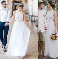 Wholesale simple country wedding dresses for sale - Cheap Simple A line Wedding Dresses Western Country Bridal Gowns Lace And Tulle Beach Dress For Brides Custom Made