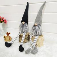 ingrosso vecchi alberi di natale-Natale berretto a righe senza volto bambola svedese Elf Nordic Gnome Vecchio bambole giocattolo Albero di Natale Pendente decorazione domestica DBC VT0753