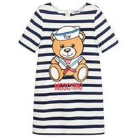 calção de vestido de marinheiro venda por atacado-120 cm Meninas bebê Verão Dreess crianças criança Listrado marinheiro urso imprimir mangas curtas vestido de roupas de Marca
