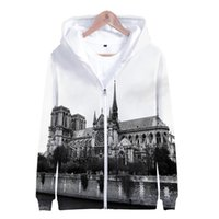 hoodie com zíper outerwear hoodies sweatshirts venda por atacado-Aikooki 3D Notre Dame de Paris Moda homens Zipper Hoodies Moletom Jaqueta de Inverno Popular pullover algodão manga longa outerwear