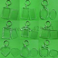 coeur acrylique porte-clés achat en gros de-50pcs / lot vide acrylique porte-clés insérer photo en plastique porte-clés clé carrée rectangle coeur circulaire accessoires