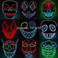 Wholesale neon cosplay for sale - Group buy EL wire mask Light Up Neon LED Mask For Halloween tomorrow land scary party cosplay Masks By V Steady on Driver SH190922