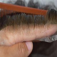 ligne hommes adultes achat en gros de-Ligne de cheveux avant de dentelle indétectable et 100% noeud de blanchiment avant de lacet de cheveux humains hommes perruque toupee avec livraison gratuite