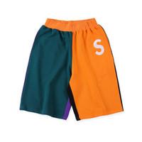 calça desportiva unisex venda por atacado-19ss s logotipo colorblocked sweatshort verão moda mulheres homens caixa de praia logotipo bordado calções de jogging treinamento unisex casual sport pants