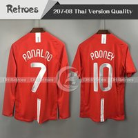 ingrosso maglia di calcio a maniche lunghe-2007 2008 Manchester Retro rosso Home Jersey 7 # Ronaldo Manica lunga 07 08 Retro # 10 Rooney # 11 Giggs # 18 Scholes Maglie calcio retrò