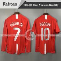 camisas de manga venda por atacado-2007 2008 Manchester Retro vermelho Home Jersey 7 # Ronaldo manga Longa 07 08 Retro # 10 Rooney # 11 Giggs # 18 Scholes Retro Camisas De Futebol