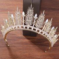 kafa bandı prenses korece toptan satış-Aksesuarlar ile Gelin Kore Rhinestone Kafa Basit Kristal Big Crown Princess Saç Aksesuarları Düğün Gelinlik