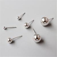 ingrosso orecchini di palla argento-New Simple 925 Sterling Silver Round Orecchini a Sfera Per Le Donne Ear Piercing Gioielli Orecchini Orecchini Brincos Gioielli