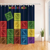 Wholesale durable boxes resale online - Color wooden box bathroom shower curtain Durable Fabric Mildew Bathroom Accessories Creative with Hooks X180CM