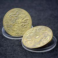 dragão do zodíaco venda por atacado-Dragão e Phoenix Chengxiang Moeda Comemorativa Zodiac Dragon e caixa de Phoenix animal Coin metal emblema presente Art Collection Acrílico