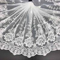 ingrosso nastro di bordo in pizzo-9 pollici di larghezza ricamo pizzo bordo floreale nastro trim taglio elastico tessuto stretch per l'indumento e fai da te artigianato fornitura 15 Yard bianco