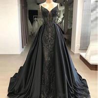 saia destacável preta venda por atacado-2020 Long Black sereia Vestidos de baile Glitter Abendkleider sauditas árabes Mulheres vestidos de noite com destacável Skirt