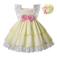 vestidos de flores de encaje amarillo niña al por mayor-Pettigirl Summer Light Yellow Girls Vestidos Mangas de encaje Vestido de fiesta de bodas con lazos y accesorios Ropa para niña G-DMGD203-23