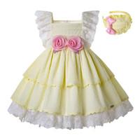 çiçek kızları sarı gelinlik toptan satış-Pettigirl Yaz Açık Sarı Kız Elbise Dantel Kollu Çiçekler Düğün Parti Elbise Yay ve Aksesuar Ile Bebek Kız Giysileri G-DMGD203-23